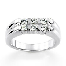 0.60 Ct Real Diamond Engagement Band 14K Solid White Gold Mens Ring Size R S T