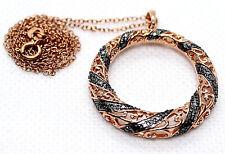 "TUXBLACK DIAMOND ACC PENDANT 18K ROSE/GD Ovr .925 S/S Journey of Life 18"" Chain"