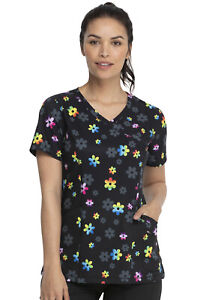 Dickies Women's Print Scrub Top DK608 RADS Medical Uniforms Sizes XXS to M