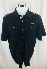 Cavi Black Gold Button Front Button Front Military Style Shirt Mens XXXL 3XL