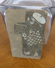 VTG Handmade Wooden Ink Printing Block Producer Microphone Figure Broadway Rare