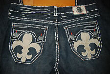 NWT Washed Black LAGUNA BEACH Hermosa Beach Jeans w/Skull & Fluer de Lis 42