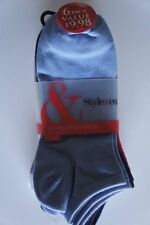 Style & Co Womens Socks Sz 9 - 11 Blue White Gray Pink 6 Pairs Sport MMG812