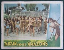 TARZAN AND THE AMAZONS~JOHNNY WEISSMULLER~ORIG 1945 LOBBY CARD~SHEFFIELD~VG- (d