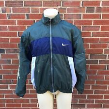Vintage 90s Nike Swoosh Mens Green White Windbreaker Track Jacket Size Large