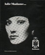 Publicité Advertising 1970 parfum jolie Madame ... balmain