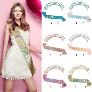 Headband Princess Queens Tiara Birthday Girl Glitter Sash Crystal Crown