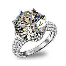 Women Engagement Round cut 8ct Diamonique Cz 925 Silver Wedding Band Ring Gift