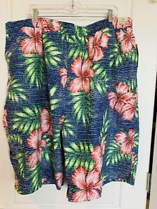 Round Tree & Yorke Caribbean Men's Floral Lined Swim Shorts Pockets Size 3XT