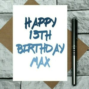 teenage boy birthday card - 13th birthday card - any name added - any age - UK