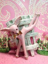 Vtg PINK Christmas Reindeer Prancing Dancing Deer W GOLD BOW TIE WALL POCKET