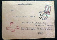 1945 Torun Poland Cover To Lyngdal Norway Internment Prisoner Of War POW Camp
