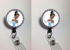 princess tiana  work Retractable Reel ID Badge Holder nurse Dr secretary Cna Lpn