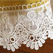 White 8cm Wide Cotton Guipure Lace Trim Skirt Hem Decoration Sewing Accessory