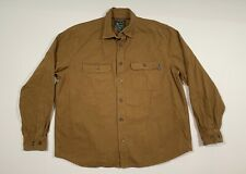 Men's WOOLRICH Heavy Cotton Flannel Shirt Size XL Brown