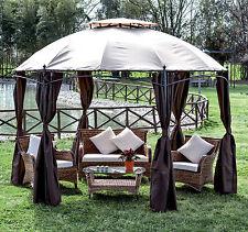 Gazebo giardino alluminio Gotic mt 3,5 con tende per giardino terrazzo