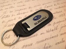 SUBARU  BLACK LEATHER KEY RING FOB ETCHED AND INFILLED IMPREZA FORESTER BRZ STI