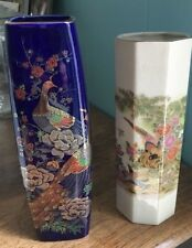 Set of 2  Japan Made Porcelain Ceramic Flower Oriental Vase Peacock Bird Flowers