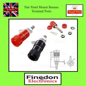 Pair 4mm Screw Plug in Binding Banana Chassis Panel Post Terminal UK Seller