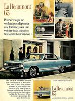 1965 GENERAL MOTORS BEAUMONT COUPE DE LUXE SPOR AUTOMOBILE ORIGINAL AD IN FRENCH