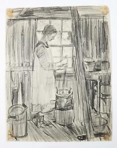 American Pencil on paper Woman Churning Butter by Maria Latasa Cadmus ca. 1900