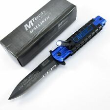 Spring-Assist Folding Pocket Knife Black Serrated Stiletto Led Law Enforcement