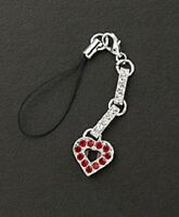 Heart Cell Phone Purse Charm Red Crystal Valentines Day Gifts For MOM