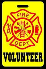 Safety Yellow VOLUNTEER Firefighter Luggage/Gear Bag Tag - FREE Personalization