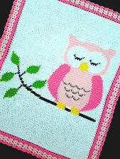 Crochet Patterns - OWL SLEEPING ON A TREE BRANCH Baby Afghan Pattern