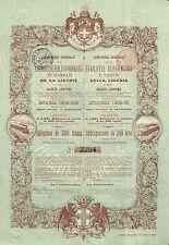 ITALY ECONOMIC RAILWAY & TRAMWAY OF LIGURIA BOND stock certificate 1892