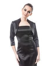 NEW WOMENS PROM WEDDING Satin Bolero Shrug Jacket Stole 3/4 Sleeve UK Size 6-28