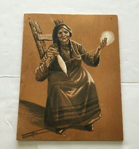Wooden picture painting drawing elderly  woman  cotton spinning myconos greece