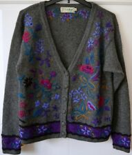 L.L. Bean Womens Medium Gray 100% Wool Cardigan Sweater Floral Embroidery