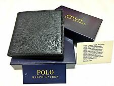 MENS AUTHANTIC RALPH LAUREN BI FOLD BLACK LEATHER 'BOULDER-968504' COIN WALLET