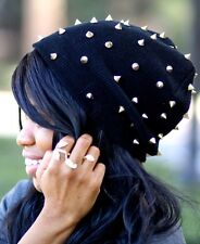 Unisex Gold Studded Slouchy Beanie Gothic Punk Spiked Winter Hat