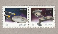 U.S.S. Enterprise = Klingon D7 = STAR TREK 50th = pair from SS Canada 2016 MNH