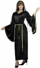 Fancy Dress Costume - Medieval Lady Velvet Look Black Costume, Nun, one size