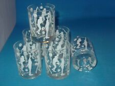"""Georges Briard 4"""" Tennis Player 6 Bar Glasses Modern Mid Century Old Fashioned"""