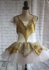 Revolution Women's Beautiful Gold & White Ballet Costume w/Bun Cover Size Medium