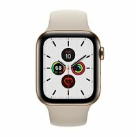 Apple Watch Series 5 MWWU2LL/A GPS+ Cellular 40mm Stainless Stone Gold Sport NEW