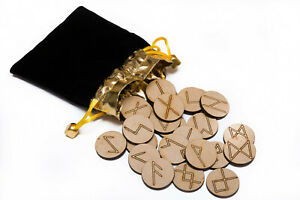 25 Rune Stone Bag set with 5 Layouts & Meaning Parchment. Futhark Wooden Runes