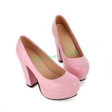 Womens High Heel Block Platform Pump Round Toe Loafer Party Lolita Shoes Plus Sz