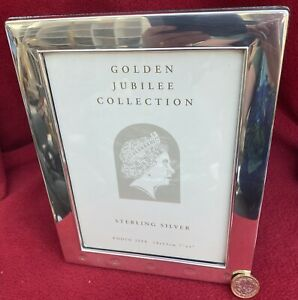 """SOLID STERLING SILVER PICTURE FRAME 7"""" x 5"""" PHOTO QEII GOLDEN JUBILEE COLLECTION"""