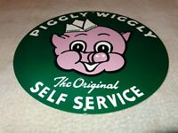 "VINTAGE PIGGLY WIGGLY SELF SERVICE GROCERY STORE 11 3/4"" METAL PIG GAS OIL SIGN!"