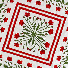 Unique Hand Applique Red Poppy Field Medallion Wall QUILT TOP