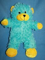 "Kellytoy Aqua Blue TEDDY BEAR 14"" Yellow Ears Feet Plush Soft Toy Stuffed Animal"