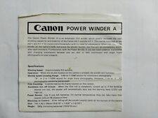 Canon Power Winder A instruction sheet