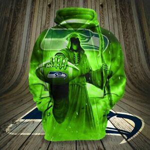 Seattle Seahawks Men's Halloween Hoodies Pullover Sweatshirts Horror Spooky Tops
