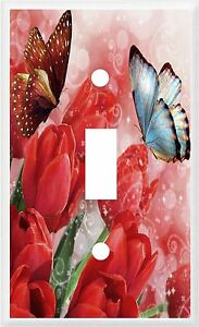 BUTTERFLY RED TULIPS IMAGE 1   LIGHT SWITCH COVER PLATE OR OUTLETS U PICK PLATE