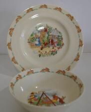 Royal Doulton Bunnykins Swinging Boat Cereal Gardening Salad Great Set